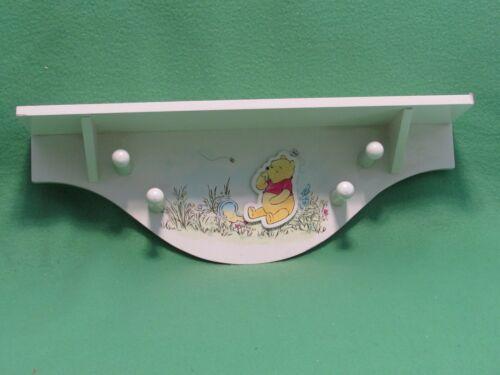 Classic Winnie The Pooh Wall Shelf Nursery Decor 4 Pegs Adorable-