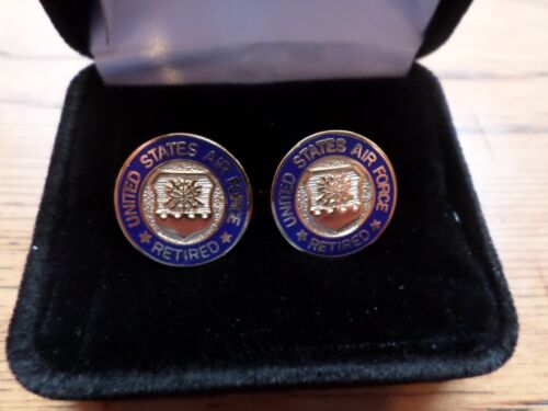 U.S MILITARY AIR FORCE RETIRED CUFFLINKS WITH JEWELRY BOX 1 SET CUFF LINKS BOXED