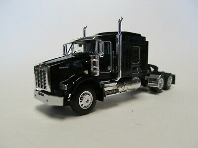 DCP 1/64 SCALE T-800 KENWORTH MIDROOF, BLACK & CHROME, DUAL CHROME STACKS