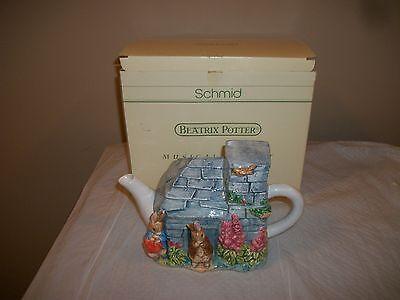 Vintage Schmid Beatrix Potter Peter & Benjamin Musical Teapot Plays Tea for Two
