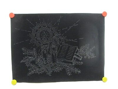 Vintage Tri Chem Picture to Paint Felt USA Poster #8814 Candles Bible Day Nite