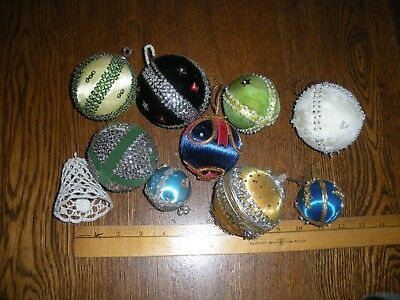 9 vintage hand beaded sequin Christmas ornaments & 1 hand crochted bell