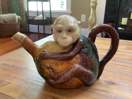 Vintage & Charming ~ Chinoiserie Majolica Monkey Teapot Replica ~ Decorative