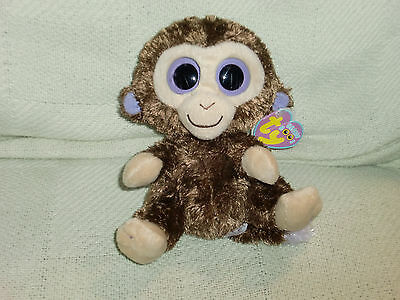 RETIRED TY BEANIE BOO BOOS COCONUT THE MONKEY NON-GLITTER EYES 2010 W TAG PLUSH