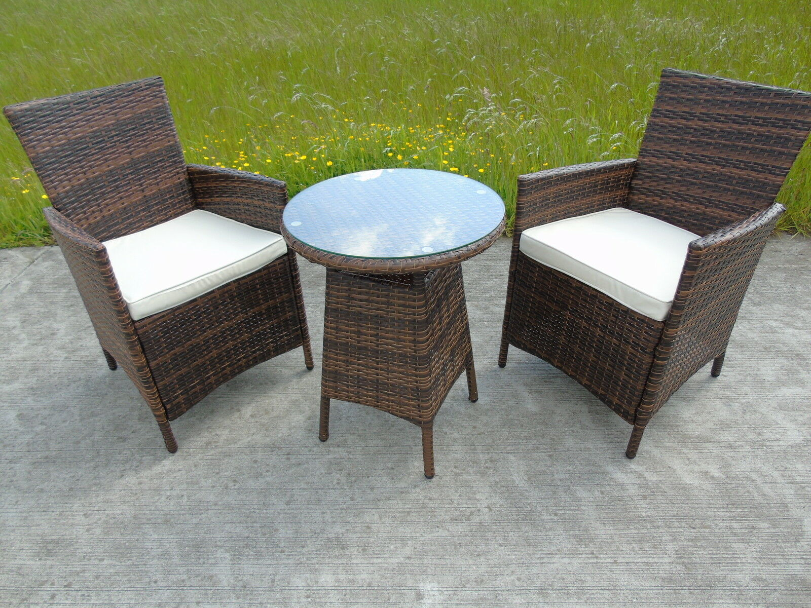 rattan 2 two seater chairs dining wicker bistro outdoor. Black Bedroom Furniture Sets. Home Design Ideas