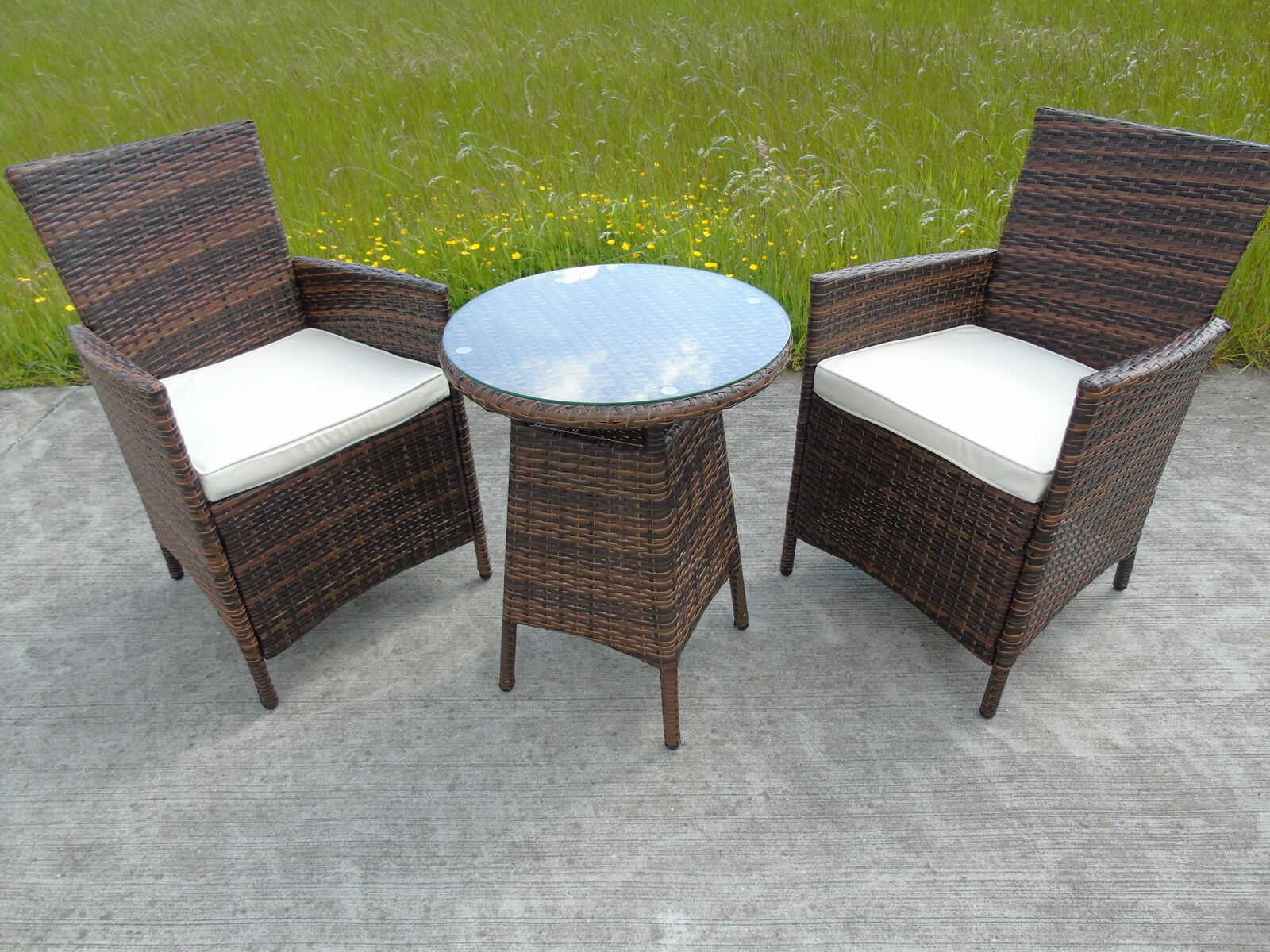 Bistro garden rattan wicker outdoor dining furniture set for Bamboo patio furniture