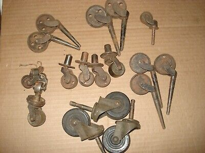 Lot Of 18 Mixed Caster Wheels Vintage Old Metal Wheels