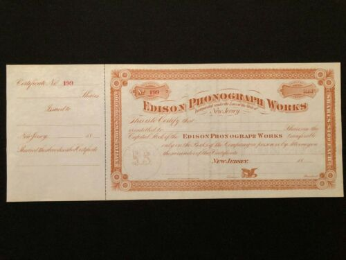 EDISON PHONOGRAPH WORKS STOCK CERTIFICATE UNISSUED 1888 NEW JERSEY SCARCE