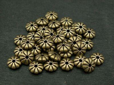 1-100 Stück Metallperle Zwischenperle Blume rund Spacer Perle 7mm bronze SB 100 - 7 Stück Metall