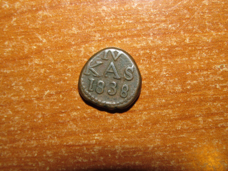 Danish India 1838 4 Cash coin HIGH GRADE RARE