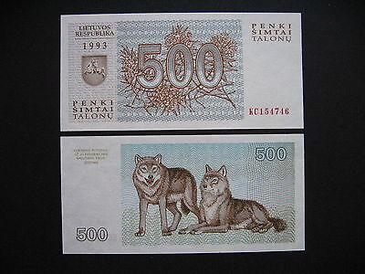 LITHUANIA  500 Talonu 1993  (P46)  UNC