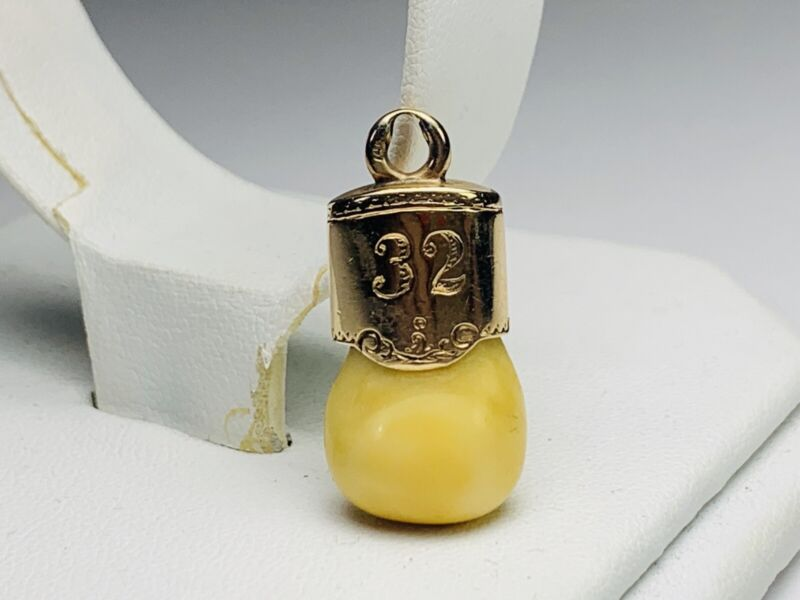 Vintage Elk Masonic Lodge 14Kt Yellow Gold 32 Degree Pendant Charm Elk Tooth