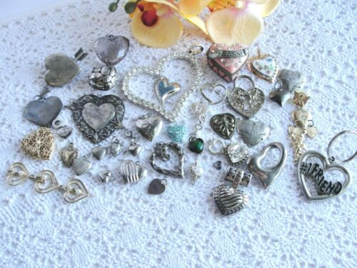 Estate Jewelry HEARTs Charms Pendants Findings Reuse Repurpose 40 Rhinestones