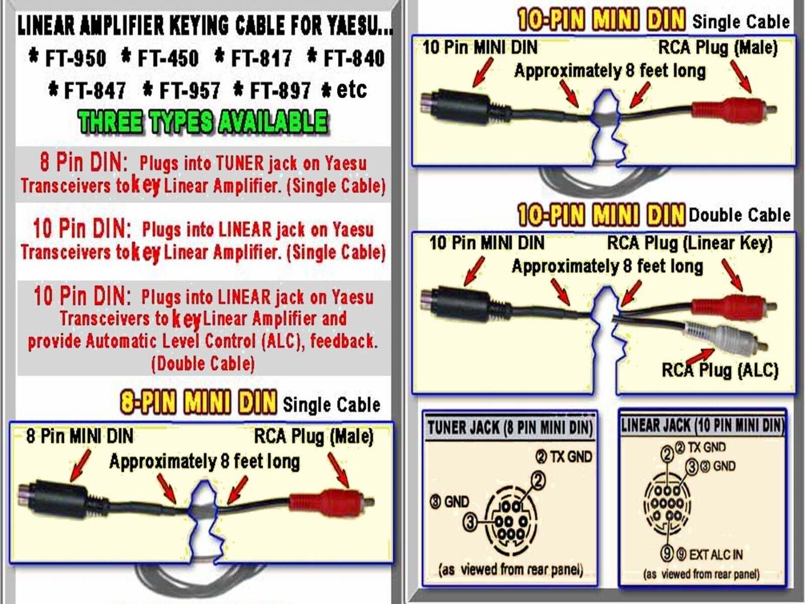 D 8-PIN MINI-DIN KEYING CABLE YAESU FT-950 D FT-DX1200 FT-817 FT-847 /&? FT-450