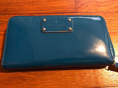 Kate Spade New York Teal Patent Leather Zip Around Clutch Wallet