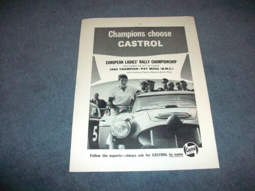 1963 Castrol Motor Oil Vintage Ad with Pat Moss European Ladies Rally Champion