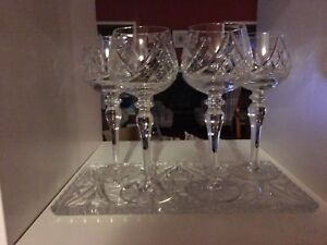 4 - Crystal Pin when wine wine glasses with tray