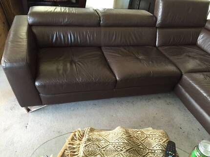 Leather Lounge 3 Seater + Chaise (Brown) Sydney City Inner Sydney Preview