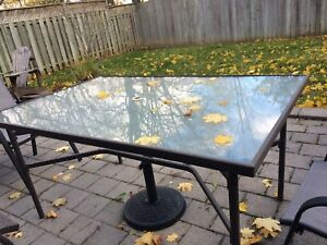 Large Glass Patio Table, & chairs! MOVING SALE