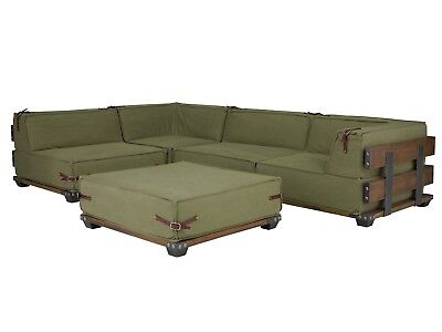 Grünes Stoff Sofa Couch (Ecksofa L-Sofa Stoff grün army Couch mit Hocker Holzsofa Sitzmöbel neu Fairview)