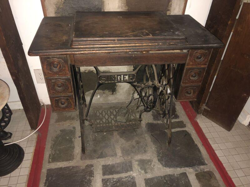 Vintage Sewing Machine Fancy Singer 7 Drawer Table Tiger Oak Cabinet Goodyear