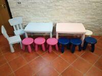 White Legno Hello Home Tavolo per Bambini con Sedie 63 x 63 x 52 cm