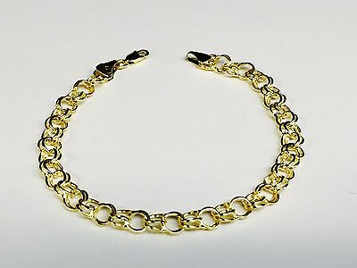 14k Yellow Gold Double Circle Link Charm Bracelet 2.7 gr 8 Inch  6 MM