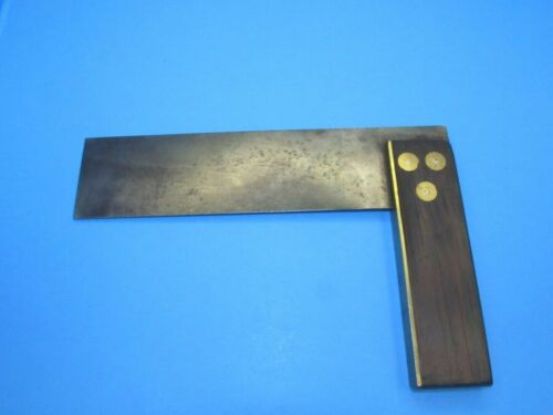 """7"""" try square w/ 3 round brass escutcheons on each side of wood handle"""