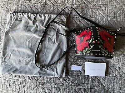 Alexander McQueen Mini Floral Bucket Bag Studded Leather Black Red