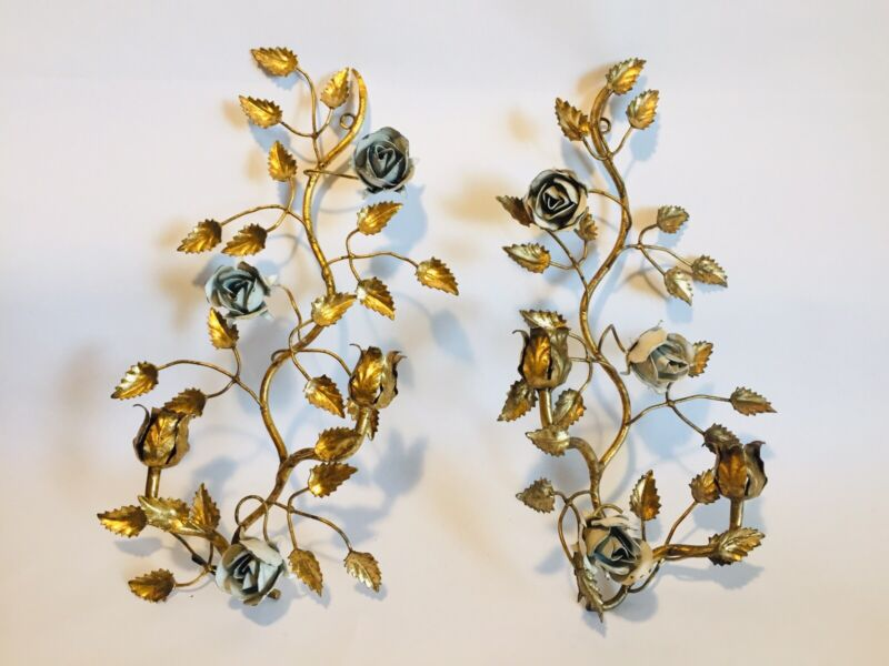 Vtg PAIR GILT GOLD TOLE ITALY Cabbage White ROSE WALL SCONCE CANDLEHOLDERS 15x9