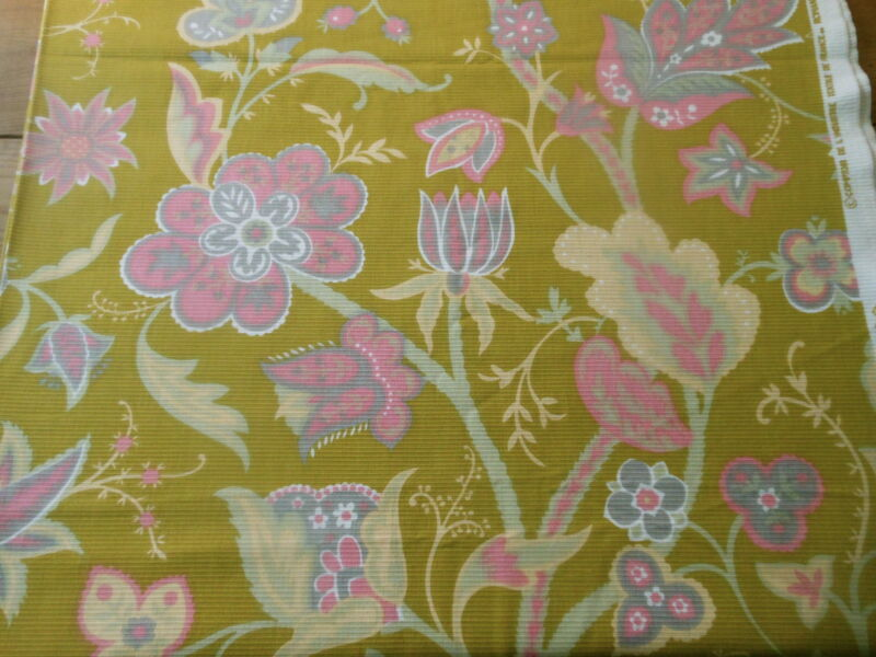Vintage Retro French Floral Paisley Fabric~ Chartreuse Pink Gray ~Romanex