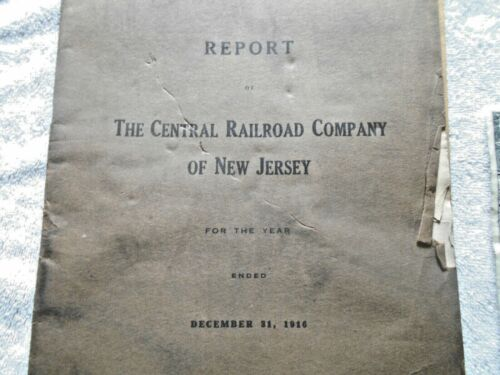 Dec 31, 1916 Central Railroad Company of New Jersey Year End Report good shape