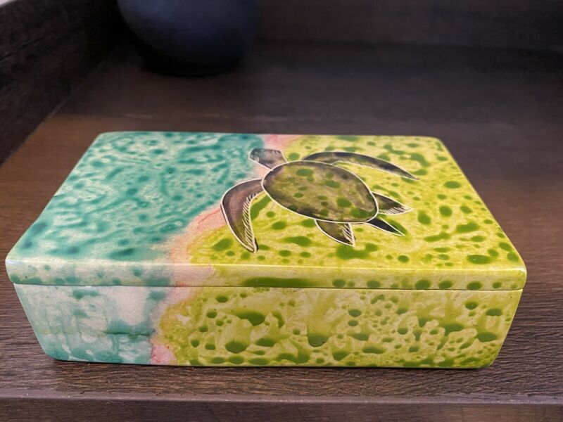 Kisii Stone Carved Box With Turtel Design, Painted In Green Variations, Multi..