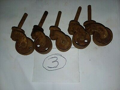 Set Of 5 Vintage Metal Caster Wheels