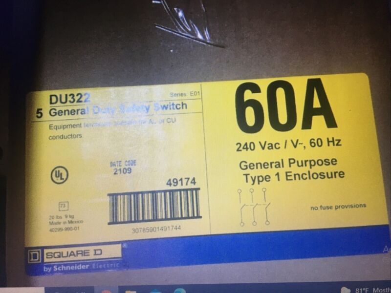 Square D DU-322 60 amp 3 pole Non Fused Indoor Disconnect