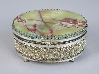 Vintage Box Oval Box Plated Silver With Lid IN Stone Onyx
