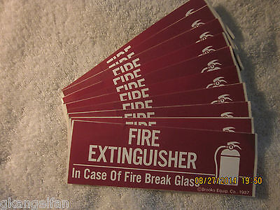 Lot Of-10 Fire Extinguisher-break Glass Self-adhesive Vinyl Signs 2 X 6 New