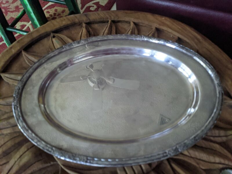 "Vintage International Silver Co. Oval footed Tray Camille 12"" x 8"""