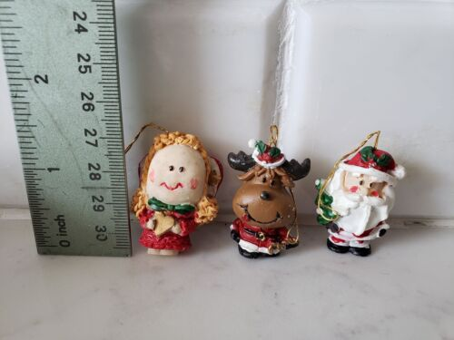 3  Miniature Christmas Ornaments Santa Reindeer Angel