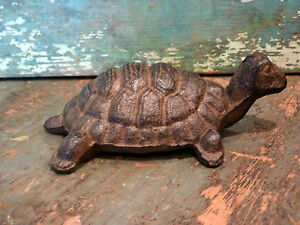 Cast Iron Metal Turtle Tortoise Figurine Statue Home Garden Yard Outdoor Decor