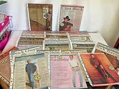 Vintage Country Music Magazine Clippings Star Stats Scrapbook Willie Hank Vince
