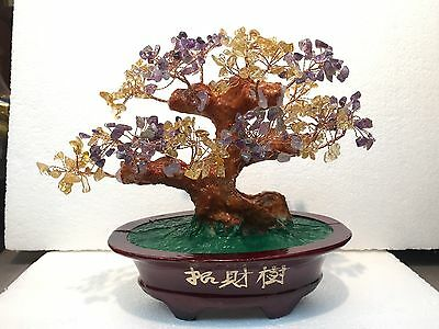 FENG SHUI NATURAL GEMS STONE(citrine & amethyst).money Tree.