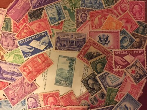 U.S. MINT COLLECTION 400+ VINTAGE STAMPS INCLUDES PLATE BLOCKS SINGLES SHEETS📧