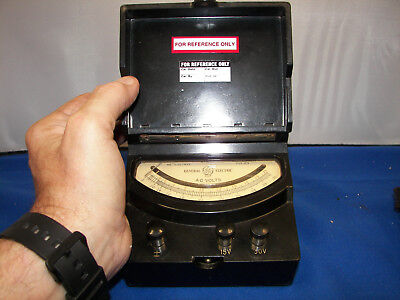 Antique Voltmeter 2 Scale 15 Vac 30 Vac Scale Mirrored Jeweled Movement