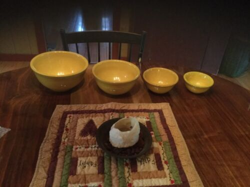 "Set Of 4 ROSEVILLE YELLOW WARE BOWLS size 5, 6, 8, 9"" Beautiful color & shiny"