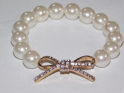 Off White Pearl W.Gold Bow Rhinestone Bridal Stretch Bracelet Cuff