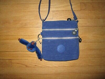 New KIPLING Alvar Extra-Small Crossbody Deep Blue Triple-Zip Nylon Bag Purse