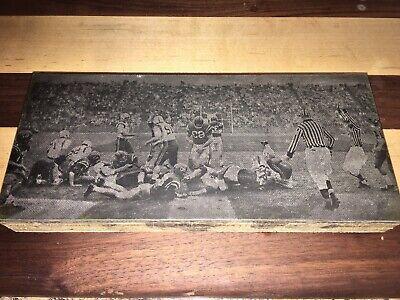 Vintage Printers Printing Block With Picture Ole Miss Rebels Football 1960s