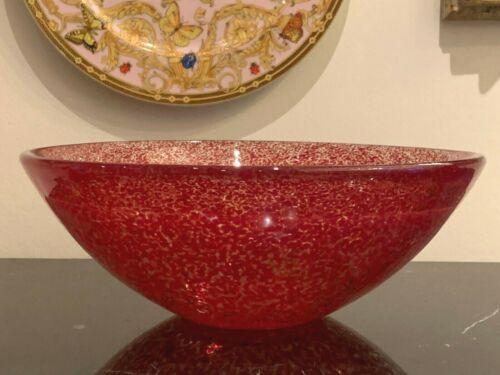 "Kosta Boda Tellus Large 12"" Red Art Glass Bowl Designed by Anna Ehrner"