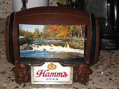 Vintage Hamm's Beer Barrel Rotating Flip Motion Bar Sign A+